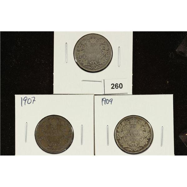 1902, 1907 & 1909 CANADA SILVER 25 CENTS