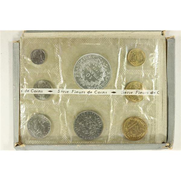 1973 FRANCE 8 COIN UNC SET, ORIGINAL MINT PACKAGE
