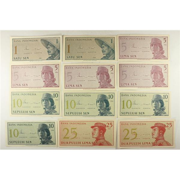 12 PIECES OF CRISP UNC 1964 INDONESIA CURRENCY