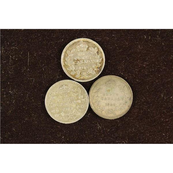 1918, 1919 & 1920 CANADA SILVER 5 CENTS