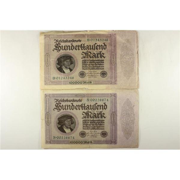 2-1923 GERMAN 100,000 MARK BILLS