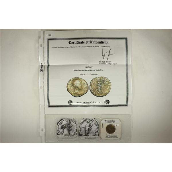 177-192 A.D. COMMODUS COMMEMORATIVE COIN WITH