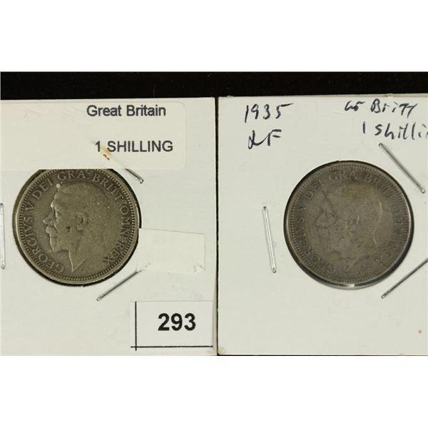 1928 & 1935 GREAT BRITAIN SILVER SHILLINGS