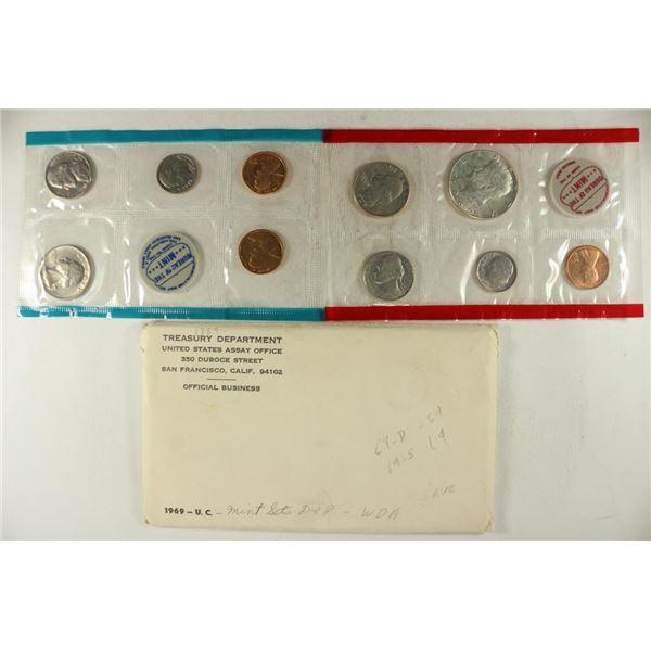 1969 US MINT SET (UNC) P/D/S (WITH ENVELOPE)