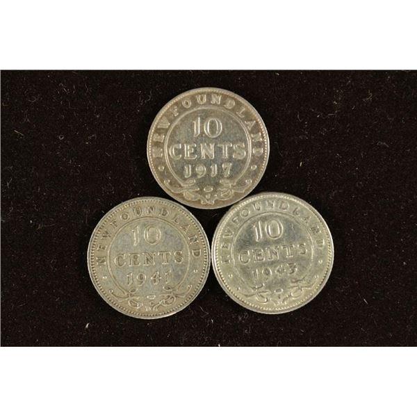 1917-C, 1941-C & 1943-C NEWFOUNDLAND SILVER 10