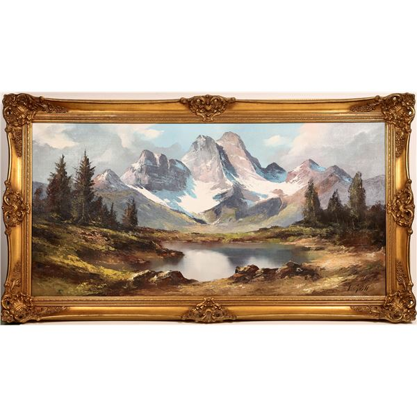 Snowy Mountain Lake Landscape Oil Painting Signed L. Goll  [131950]