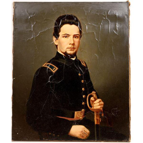 Civil War Soldier Portrait, Enlarged, Enhanced Painted Photo   [132267]