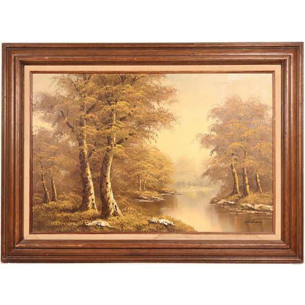 """Oil Painting/ """" Looking Down Stream"""" / By Williams.  [109671]"""