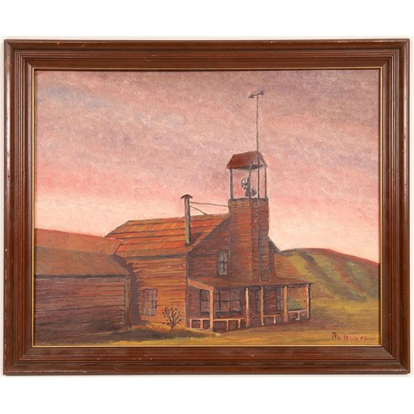 Old Schoolhouse Painting Signed By R. L.  Burch  [133753]