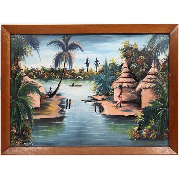 Original African Artwork Signed by Artist (2 oil paintings, framed under glass)  [133750]