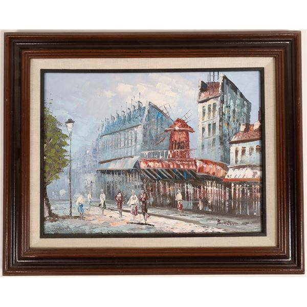 Paris Street Scene, Moulin Rouge Oil Painting, Signed   [133752]
