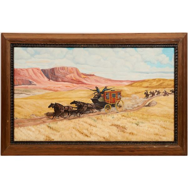 Stagecoach Pursued by Indians Western Painting, Oil on Canvas Signed Curtin  [132264]