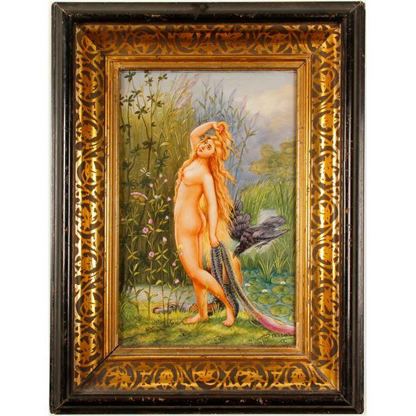 Berlin Porcelain Plaque, marked KPM Nude Nymph [77465]
