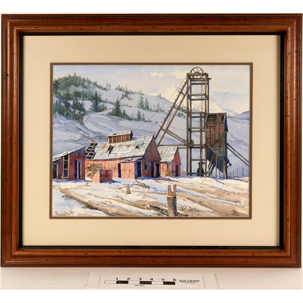 Central City, Colorado, Head Frame - Watercolor by Pat Patterson  [125065]