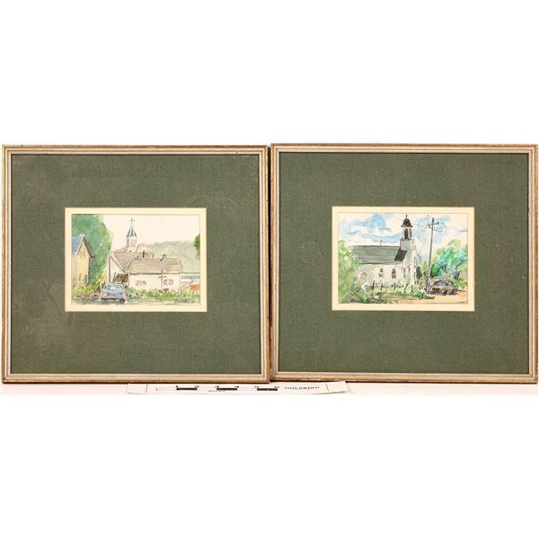 Two Colorado Church Paintings by Luke Buck  [122307]