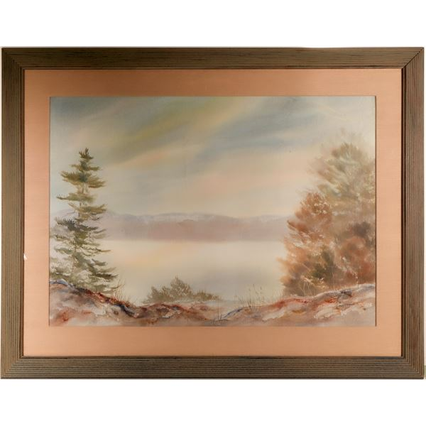 Mary T. Hoffman Original Watercolor Landscape, Framed and Matted under glass  [125153]