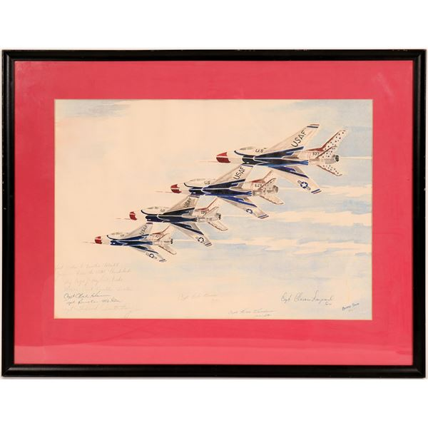 """Bonnie Snow Watercolor, 1965, """"Thunderbirds"""" Signed by the Pilots  [114397]"""