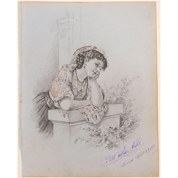 Beautiful Young Woman by Hugo Nahl  [117453]
