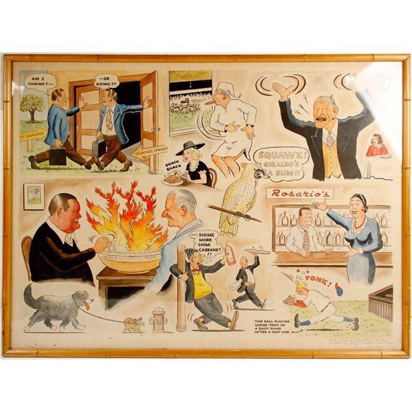 Lees Sussland Cartoon Drawing, Signed  [77861]