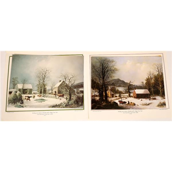 Two George Durrie Lithograph Greetings From President Ford  [131847]