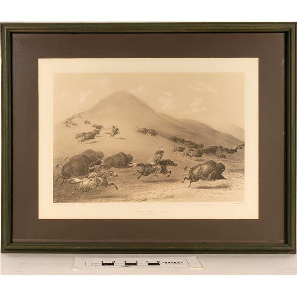 Geo. Catlin's Bufallo Hunt, Chase - Framed Litho Reproduction  [125093]