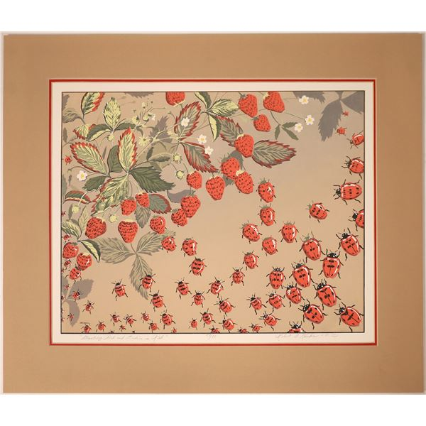 """Robert A. Kercher Serigraph """"Strawberry Bed and Ladies in Red""""  [131947]"""