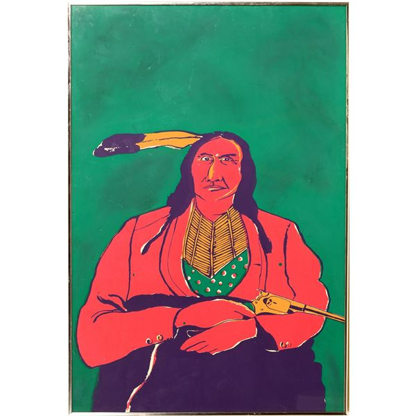 Indian With a Gun - by Fritz Scholder Serigraph  [132810]