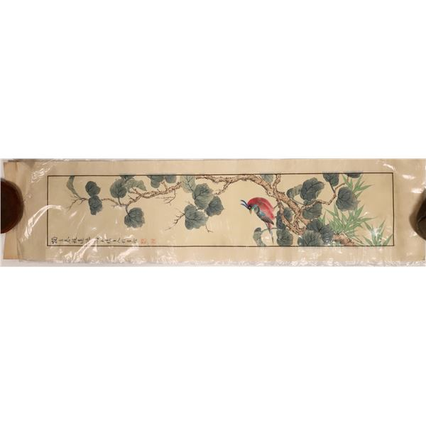 Japanese or Chinese Red Bird Print  [132058]