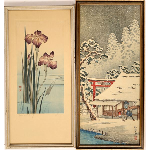 """Japanese Woodblock  Prints """"Iris and Frog"""" by Gyosui and Family in Snow (Lot of 2)  [131933]"""