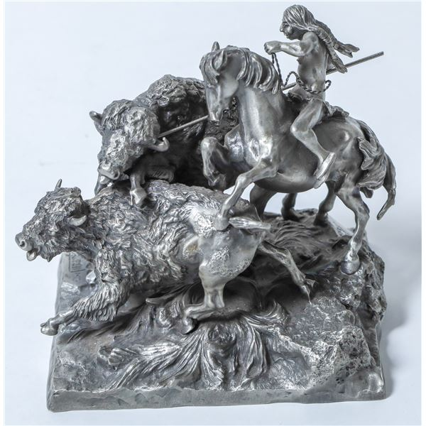Buffalo Hunt, Pewter Sculpture by Polland  [132886]