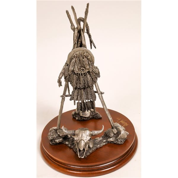 Circle of Power - Crow Sentry, Pewter Sculpture by Don Polland  [132894]
