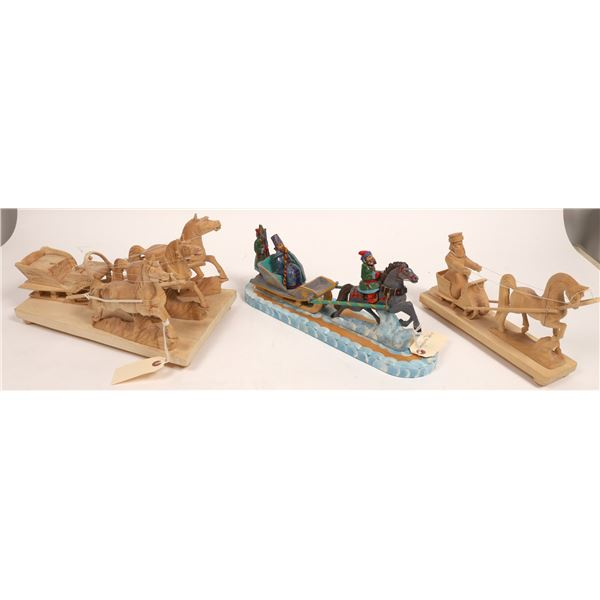 Hand-carved Horse-drawn Sleigh Figures  [133728]