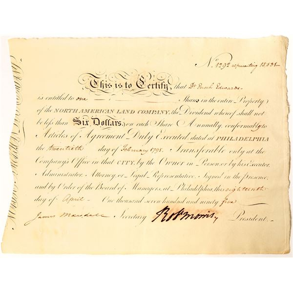 Robert Morris Signed Certificate issued to Dr Enoch Edwards, George Washington's Personal Physician