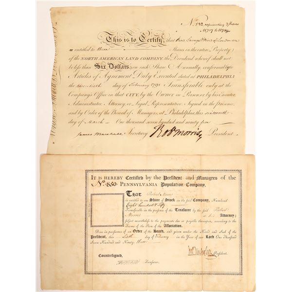 Robert Morris Stock Certificate Pair  [132760]