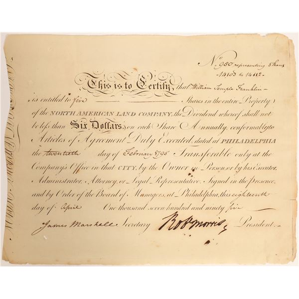 North American Land Company Stock Issued to Ben Franklin's Grandson, w/ Robert Morris Autograph