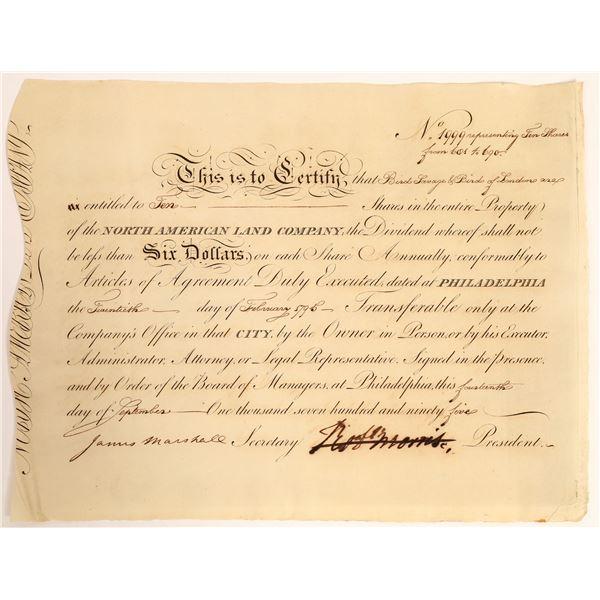 Robert Morris Signed Stock Certificate, 1795  [132761]