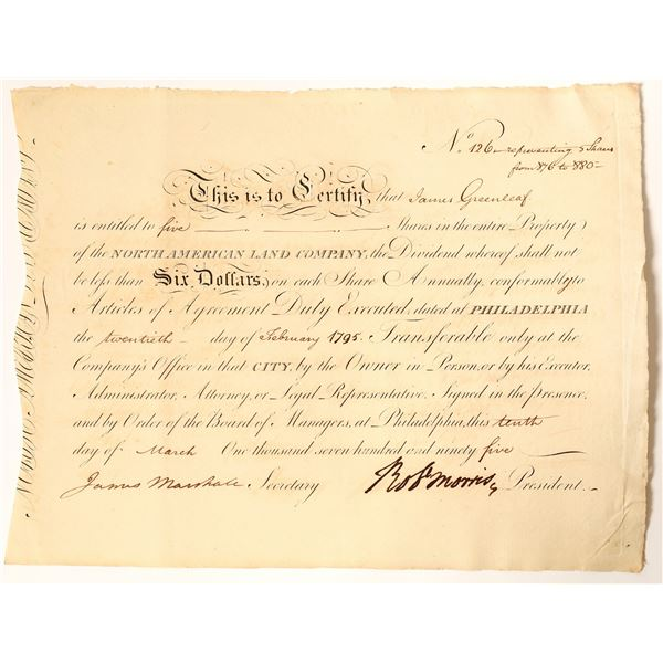 Robert Morris Signed Stock Issued to James Greenleaf, 1795  [132752]