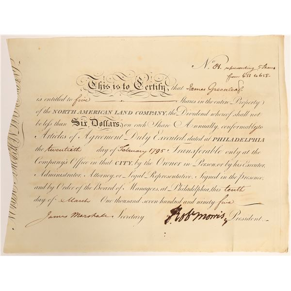 Robert Morris Signed Stock Issued to James Greenleaf  [132716]