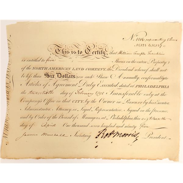 Robert Morris signed stock issued to Wm. Temple Franklin, grandson of Ben Franklin  [132717]