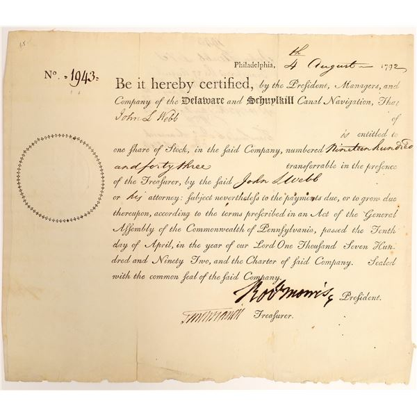 Delaware and Schuylkill Canal Navigation Stock w/ Robert Morris Auto, Signer of Declaration [132714]