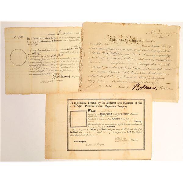Robert Morris, Signer of the Declaration of Independence, Stock Certificate Trio  [132711]