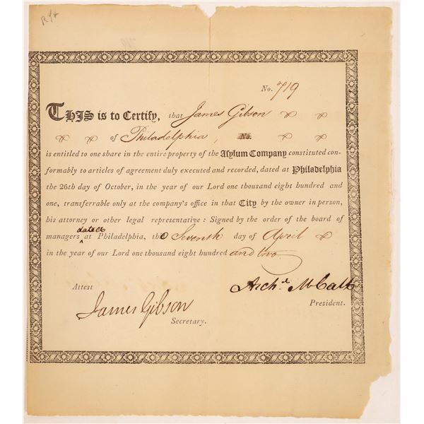 Asylum Company Stock Certificate (Robert Morris Land Company)  [134146]