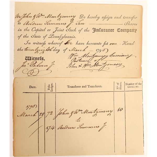 State of Pennsylvania Insurance Co. Certificate Signed by Two Key American Revolution Figures