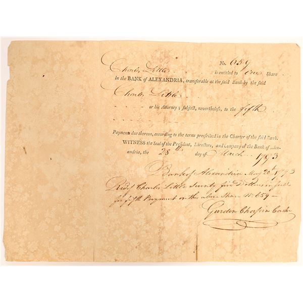 Bank of Alexandria Stock Certificate to Friend of George Washington  [132718]