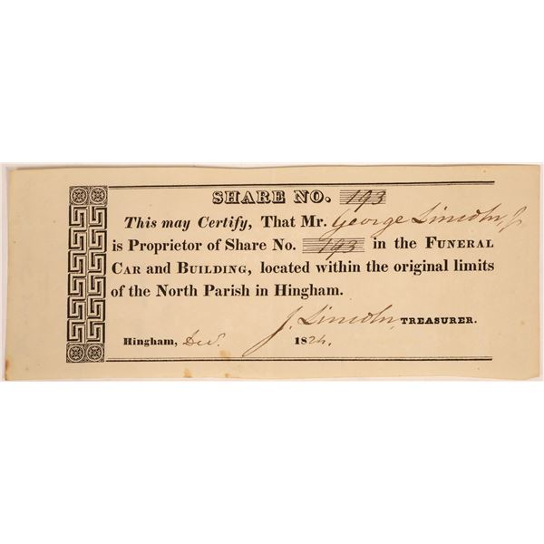 Funeral Car & Building Company Stock Related to Abraham Lincoln Ancestors  [134157]