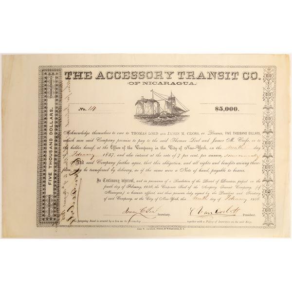 """Commodore"" Cornelius Vanderbilt Signature on Accessory Transit Company of Nicaragua Bond"