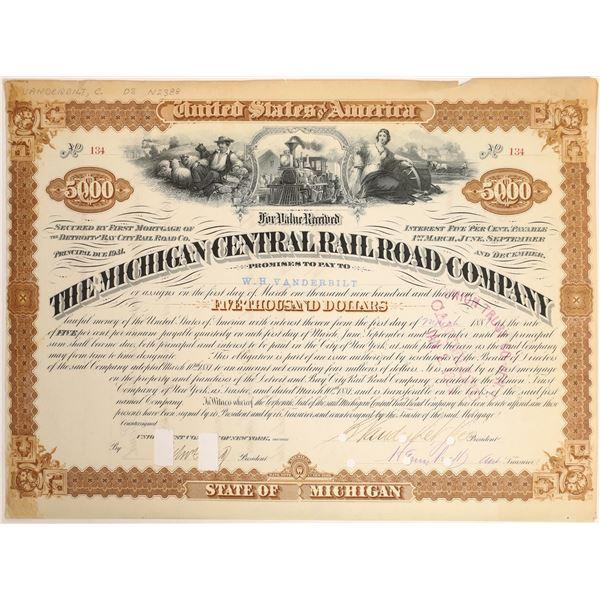Cornelius and WH Vanderbilt autographs on Michigan Central Railroad Bond  [132738]