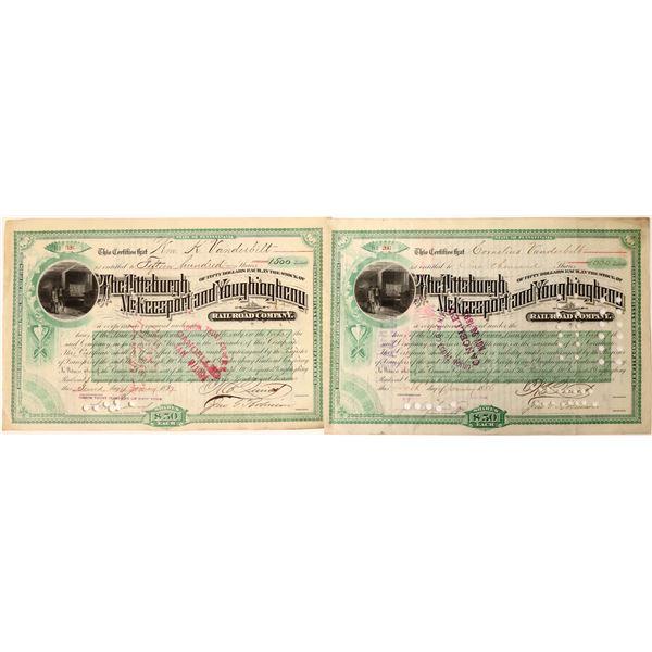 Cornelius and William Vanderbilt Autos. on Pittsburgh, McKeesport, & Youghiogheny Railroad Stocks