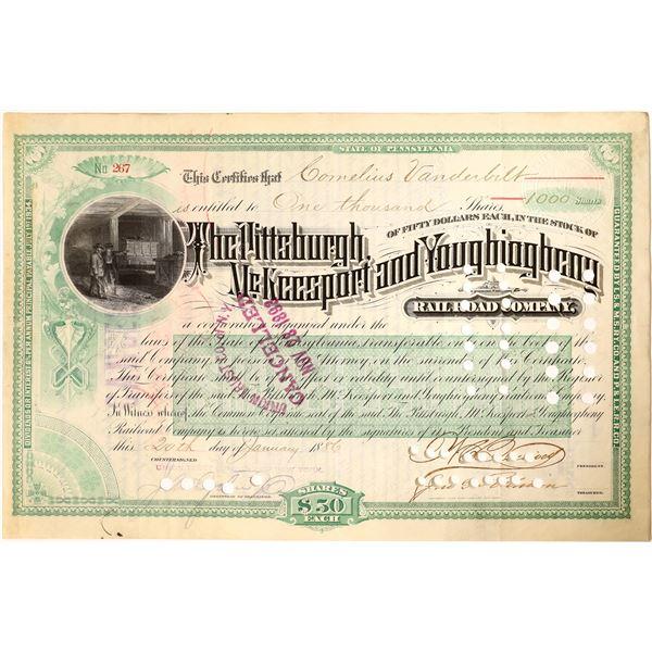 Cornelius Vanderbilt signature on Pittsburgh, McKeesport and Youghiogheny Railroad Stock  [130196]