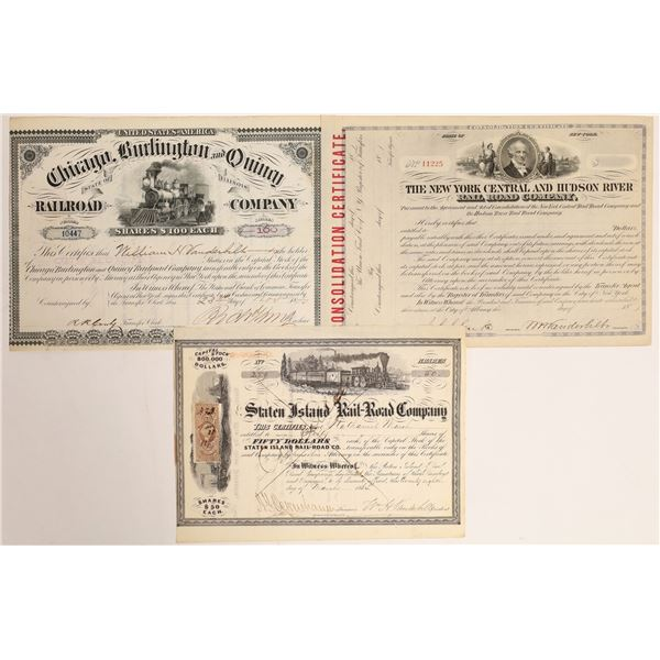 Different WH Vanderbilt Autographs on American Railroad Stock Certificates  [132739]